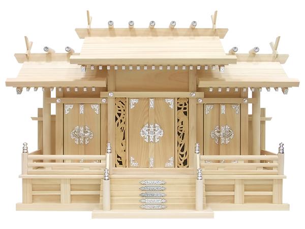 【神棚】鳳凰三社シルバー金具・大(ひのき)