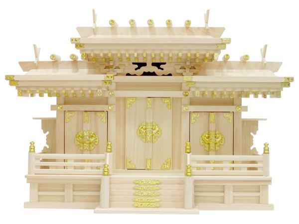 【神棚】マス組付屋根違い三社・大(ひのき)