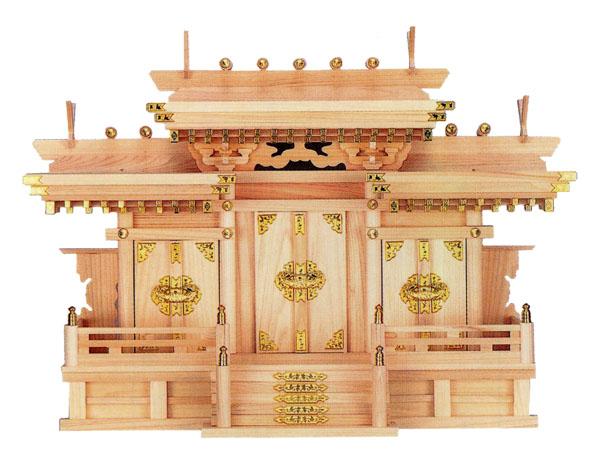 神棚【マス組付屋根違い三社・中(ひのき)】
