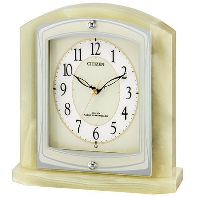 リズム時計 シチズン 電波時計 置き時計 オニックス枠 パルラフィーネR400(ライトグリーン) 8RY400-005