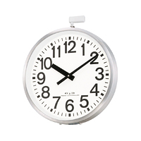 リズム時計 電波時計 掛け時計 屋外用 直径70cm(アンテナ含まず) 金属枠 エリア700N(シルバー) 4MY698-A19