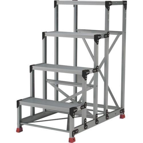トラスコ中山 TRUSCO 作業用踏台 アルミ製・高強度タイプ 4段 TSF-4612