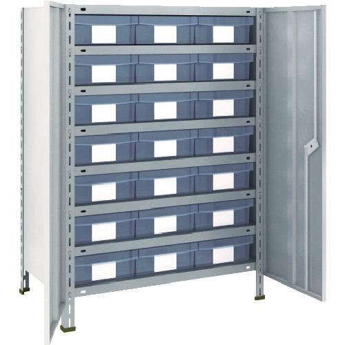 トラスコ中山 TRUSCO 軽量棚扉付 875X450X1200樹脂引出透明大X21 ネオグレー 43X-T808D7