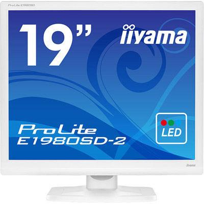 イーヤマ <ProLite>19インチ スクエア 液晶ディスプレイ(1280x1024/D-Sub15Pin/DVI/スピーカー/LED/ノングレア/TNパネル/ピュアホワイト) E1980SD-W2