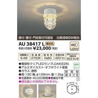 コイズミ LED防雨型シーリング AU38417L