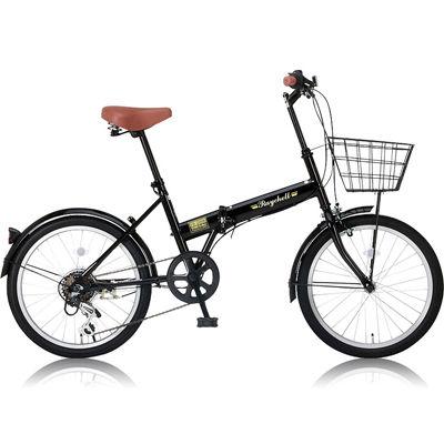 レイチェル カゴ/泥除け標準装備・カギ/ライトが付属した20インチ折りたたみ自転車 FB-206R ブラック OTM-24212