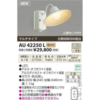 【カード決済OK】コイズミ LED防雨ブラケット AU42250L