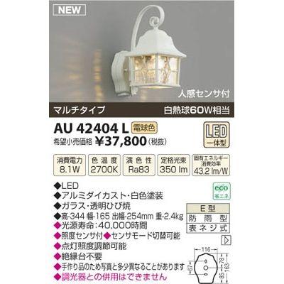【カード決済OK】コイズミ LED防雨ブラケット AU42404L