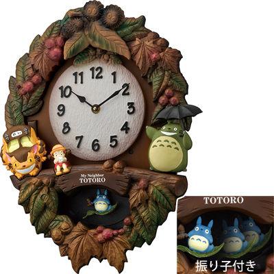 リズム時計 トトロ 掛け時計 メロディ入り(テーマ曲) 暗所自動鳴り止め機能 飾り振り子付き 木枠(合板) M429(茶色ボカシ仕上) 4MJ429-M06