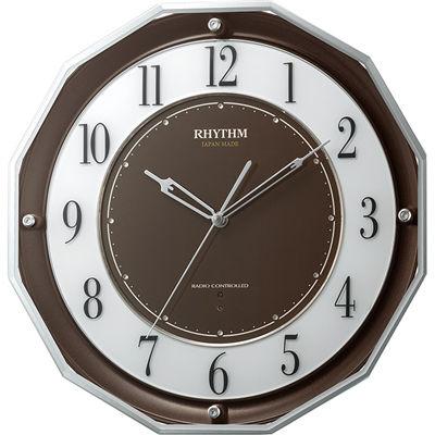 リズム時計 電波時計 掛け時計 広範囲受信 サイレントステップ秒針 34.1x34.1cm スリーウェイブM846(ブラウン) 4MY846SR06