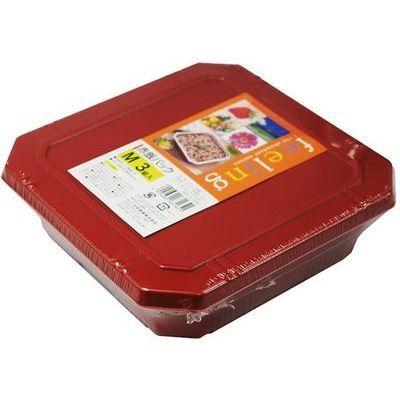 大和物産 フードパック 赤飯パック M 3組入 (弁当箱 使い捨て容器)【60個セット】 4904681631651【納期目安:1週間】