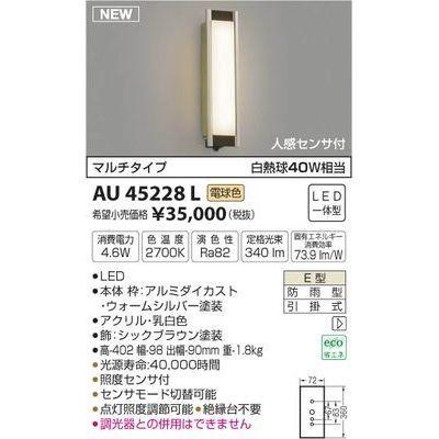 コイズミ 防雨型ブラケット AU45228L