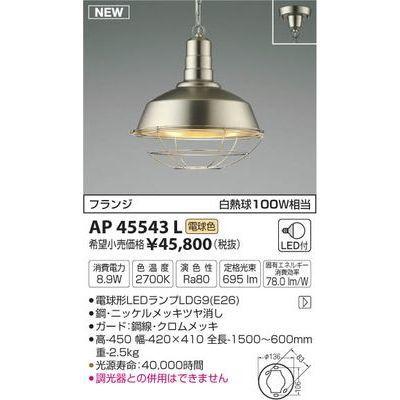 コイズミ ペンダント AP45543L