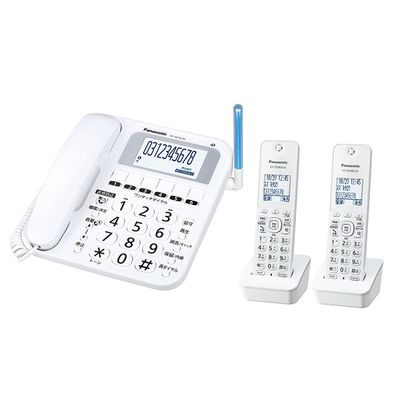 パナソニック コードレス電話機(子機2台付き) RU・RU・RU(ル・ル・ル)(ホワイト) VE-GE10DW-W