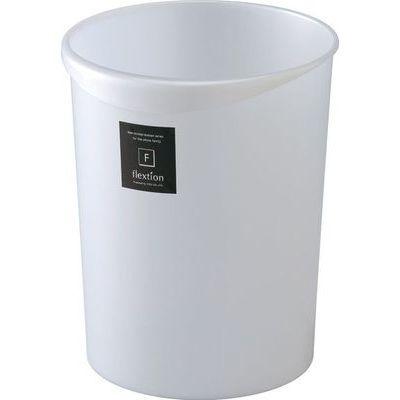 リス ゴミ箱 8L フレクション 丸 メタリックホワイト (ダストボックス くずかご)【40個セット】 4971881127697