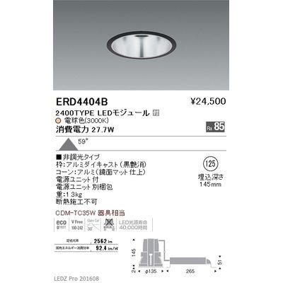 遠藤照明 LEDZ ARCHI series ベースダウンライト:鏡面コーン ERD4404B