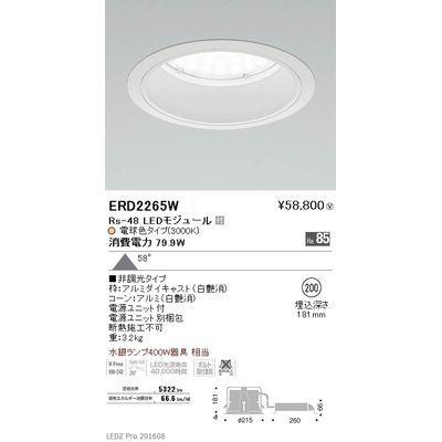遠藤照明 LEDZ Rs series ベースダウンライト:白コーン ERD2265W