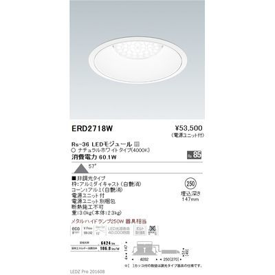 遠藤照明 LEDZ Rs series リプレイスダウンライト ERD2718W