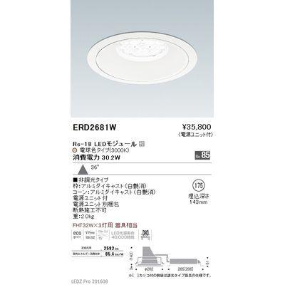 遠藤照明 LEDZ Rs series リプレイスダウンライト ERD2681W