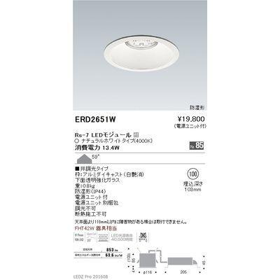 遠藤照明 LEDZ Rs series 防湿形ベースダウンライト ERD2651W
