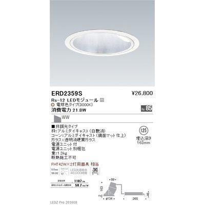 遠藤照明 LEDZ Rs series グレアレスウォールウォッシャーダウンライト ERD2359S