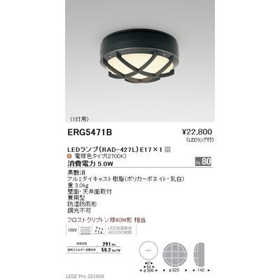 遠藤照明 STYLISH LEDZ series アウトドアブラケットライト/アウトドアシーリングライト ERG5471B