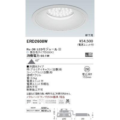 遠藤照明 LEDZ Rs series 軒下用ベースダウンライト ERD2608W