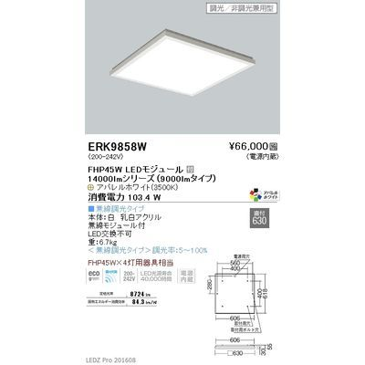 遠藤照明 LEDZ FLAT BASE series スクエアベースライト 下面乳白パネル形 ERK9858W