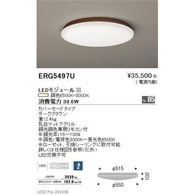 遠藤照明 LEDZ 調光調色シリーズ 調光調色シーリングライト ERG5497U