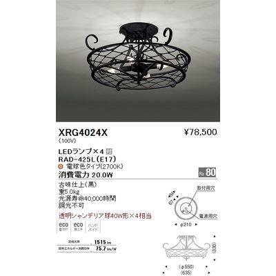 遠藤照明 シーリングライト〈LEDランプ付〉 XRG4024X
