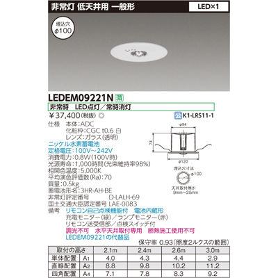 東芝 低天井用埋込LED非常灯専用形 LEDEM09221N