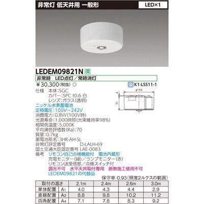 東芝 低天井用直付けLED非常灯専用形 LEDEM09821N