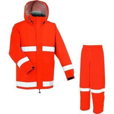 APT PRO (アプトプロ) アプトプロ ヘルメット 対応 レイン スーツ 上下 メッシュ裏付き 全3色 9サイズ レスキュー オレンジ EL 防水・透湿 2層レイヤー 収納袋付き EE-00255