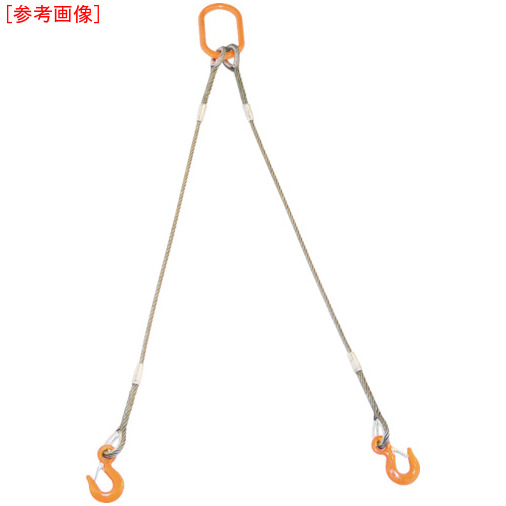 トラスコ中山 TRUSCO 2本吊りWスリング フック付き 9mmX2m GRE2P9S2
