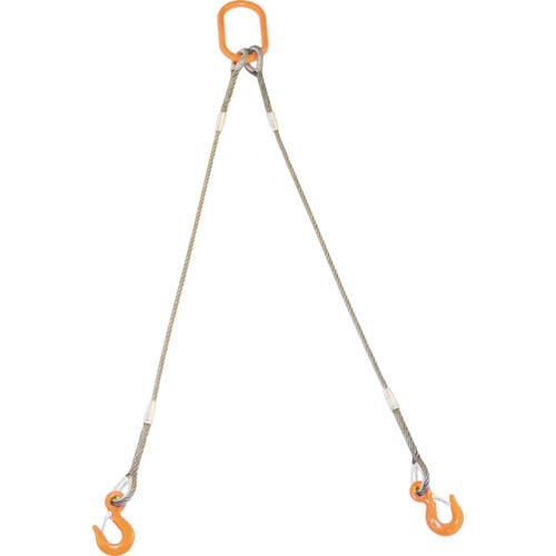 トラスコ中山 TRUSCO 2本吊りWスリング フック付き 9mmX1m GRE2P9S1