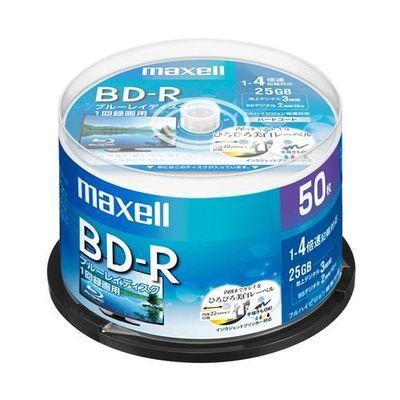 マクセル (Maxell) BRV25WPE50SP 録画用BD-R ひろびろ美白レーベルディスク 1-4倍 25GB 50枚 スピンドルケース BRV25WPE.50SP-R 4902580517885