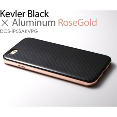 Deff Hybrid Case UNIO for iPhone 6s Kevler Black + アルミローズゴールド DCS-IP6SAKVRG