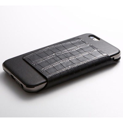 Deff Hybrid Case UNIO for iPhone 6s Leather クロコ型押ブラック + アルミシルバー DCS-IP6SAGLFSVBK