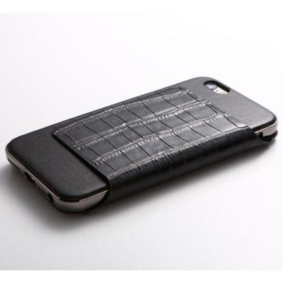 Deff Hybrid Case UNIO for iPhone 6s Plus Leather クロコ型押ブラック+アルミシルバー DCS-IP6SPAGLFSVBK