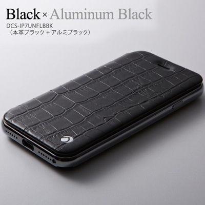Deff HYBLID Case UNIO for iPhone 7 Genuine Leather Black / Aluminum Black DCS-IP7UNFLBBK【納期目安:1週間】