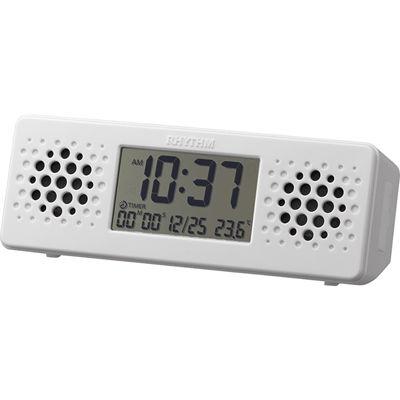 リズム時計 Bluetoothスピーカー 目覚まし時計 防滴型(JIS IPX4相当) お風呂で音楽! 温度 カレンダー アクアプルーフ ミュージック(白) 8RDA73RH03