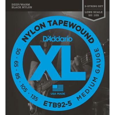 DADDARIO 【5個セット】D'Addario ETB92-5 Black Nylon Tapewound 5弦エレキベース弦 ダダリオ 5弦ベース用 テーパーワウンド弦 ロングスケール 0019954970482