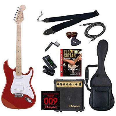 ENTRY PhotoGenic エレキギター 初心者入門エントリーセット ストラトキャスタータイプ ST-180M/MRD メタリックレッド メイプル指板 4534853532341