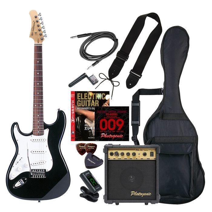 ENTRY PhotoGenic エレキギター 初心者入門エントリーセット ストラトキャスタータイプ ST-250LH/BK ブラック レフトハンドモデル 4534853069014