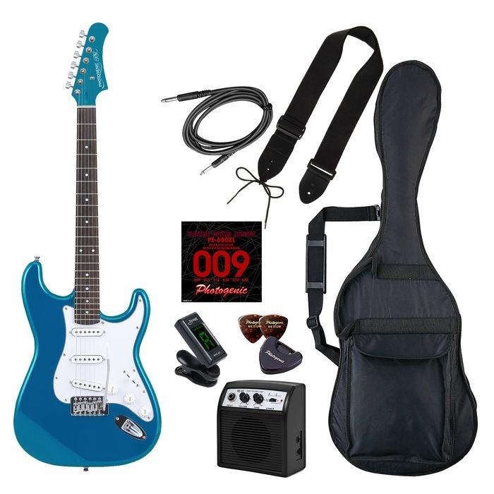 LIGHT PhotoGenic エレキギター 初心者入門ライトセット ストラトキャスタータイプ ST-180/MBL メタリックブルー ローズウッド指板 4534853536240