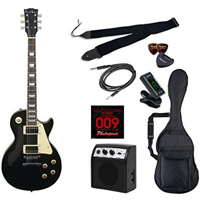 LIGHT PhotoGenic エレキギター 初心者入門ライトセット レスポールタイプ LP-260/BK ブラック 4534853538343