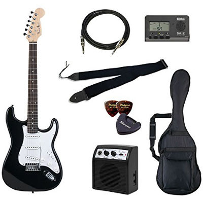 VALUE Photo Genic/フォトジェニック ST-180/BK エレキギター初心者向け豪華8点バリューセット ST180 ビギナー向け/ストラトキャスタータイプ 4534853030007