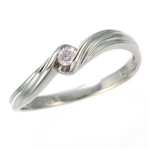 その他 0.05ctピンクダイヤリング 指輪 ウェーブ 15号 ds-453326