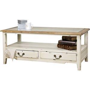 その他 コーヒーテーブル 【ブロッサム】 木製/強化ガラス製 引き出し収納付き COL-013 ds-690482