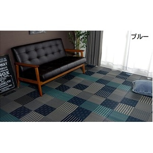 その他 純国産 日本製 い草花ござカーペット 『京刺子』 ブルー 江戸間8畳(約348×352cm) ds-783741
